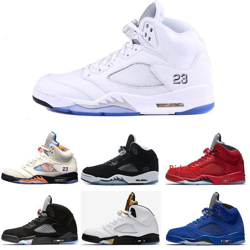 Mejor venta de zapatos de baloncesto para hombre 5 5s Internacional Olímpico Plata Vuelo Negro Oreo metálico calzado deportivo Sport Desigsner la zapatilla de deporte de Zapato