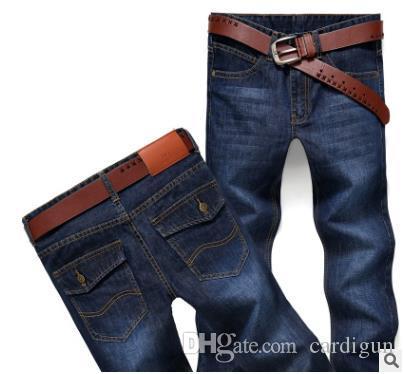 I nuovi uomini neri jeans diritti degli uomini dei jeans moda maschile grande vendita vestiti di autunno pantaloni strappati nuova moda maschile