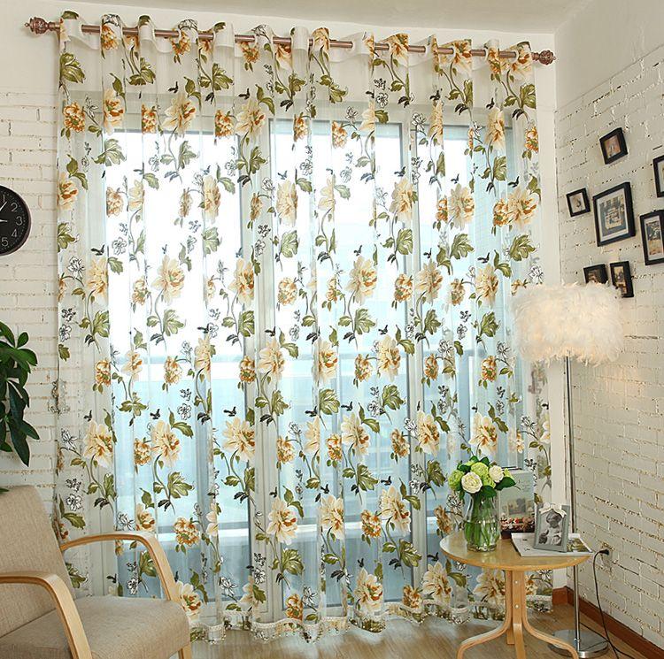 Floreale ricamato puro Tulle tende per il salone ragazze Jacquard finestra Cortina Pastorale Per Camera Tende Cortinas