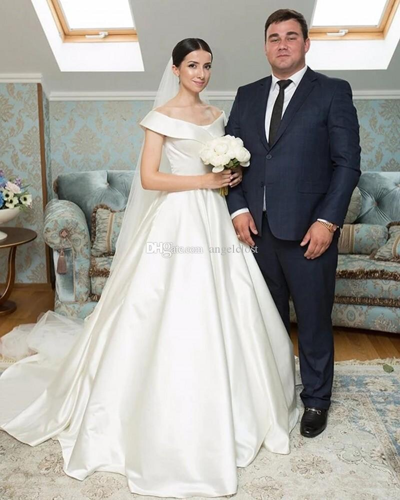 Простые свадебные платья 2020 с плеча Stain Sweep Поезд Сад Часовня Свадебные платья Robe De mariée выполненный на заказ