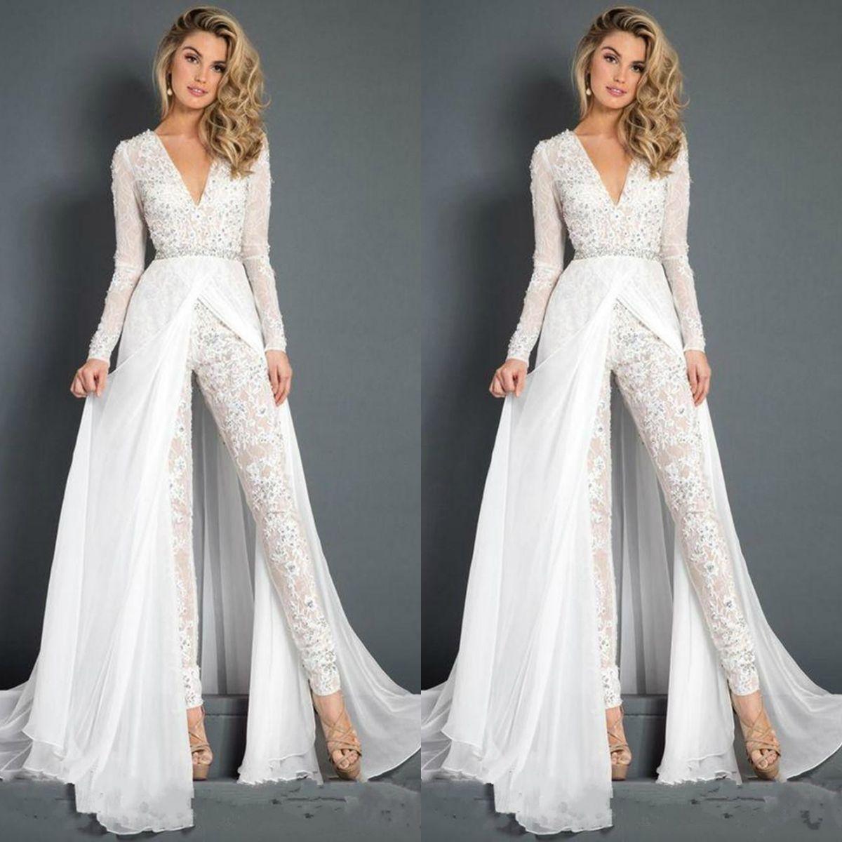 Beyaz Tulumlar Gelinlik Modelleri Boncuklu Dantel Derin V Boyun Oranlar Örgün Akşam Parti Abiye Ucuz Uzun Kollu Beach Özel Durum Pantolon