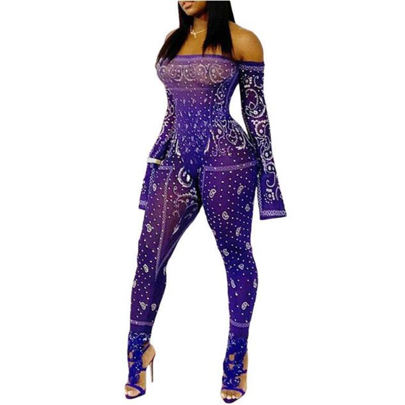 2020 새로운 여성 의류 보라색 프린트 점프 수트 긴 소매 오프 숄더 섹시한 장난 꾸러기 패션 여성 바디 슈트 스타킹 샴 바지