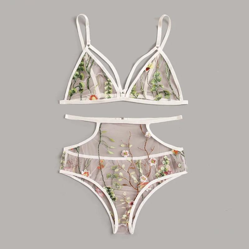 Fashion Women V-Neck Floral Embroidered Lace Lingerie Set Black Underwear Rf