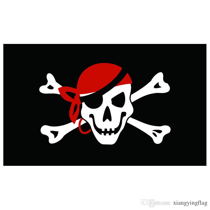 50pcs Fabrik 100% Polyester 90 * 150cm Jolly Goger Flaggen und Banner Schädel-Knochen-roter Bandana Schädel-Knochen-Piraten-Flagge