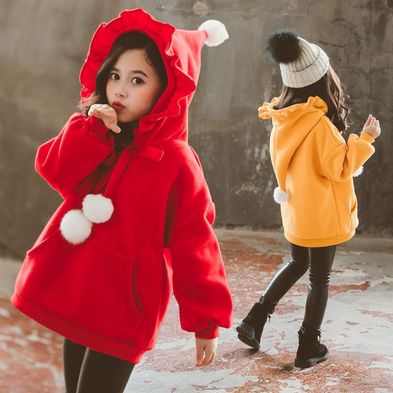 Miúdos do Natal Camisola do Hoodie Para Meninas manga comprida lã quente moletom com capuz para os bebés Natal Roupas Ornamentos