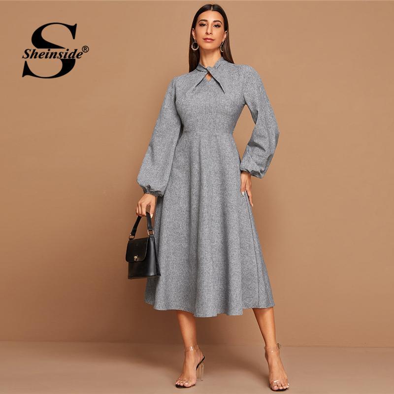 Sheinside élégant torsadé Une ligne de robe de femmes 2020 Printemps gris taille haute Midi Robes dames Lanterne robe à manches Zipper