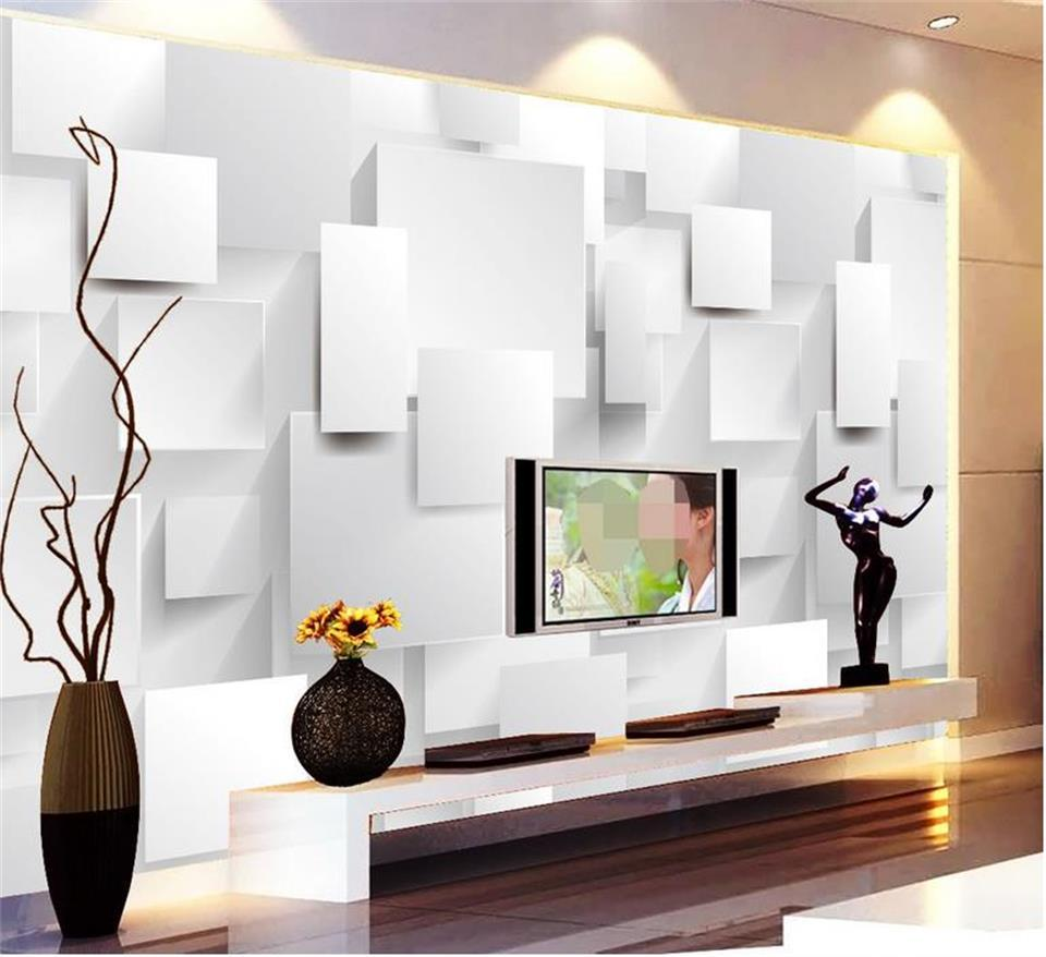 adesivo formato personalizzato 3d foto carta da parati soggiorno camera da letto murale moderna e minimalista 3D cubo di TV sfondo carta da parati non tessuto a parete