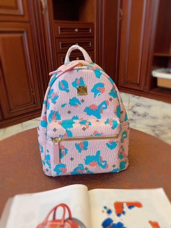 سيدة الموضة الجديدة والفتيات الفهد الوردي الزهور على ظهره وقت الفراغ صارخة إلكتروني يطبع على ظهره حقيبة مدرسية