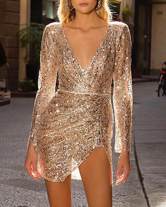 Ninimour Женщины Элегантная мода Блестки Sparkly Gold Party платье Sexy Глубокий V шеи Погружение щелевая Мини платье без пояса