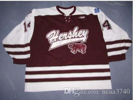 Custom Men Youth women Vintage AHL Hershey Bears 100% Embroidery # 14 Alex Tangu Hockey Jersey Size S-5XL or custom any name or number
