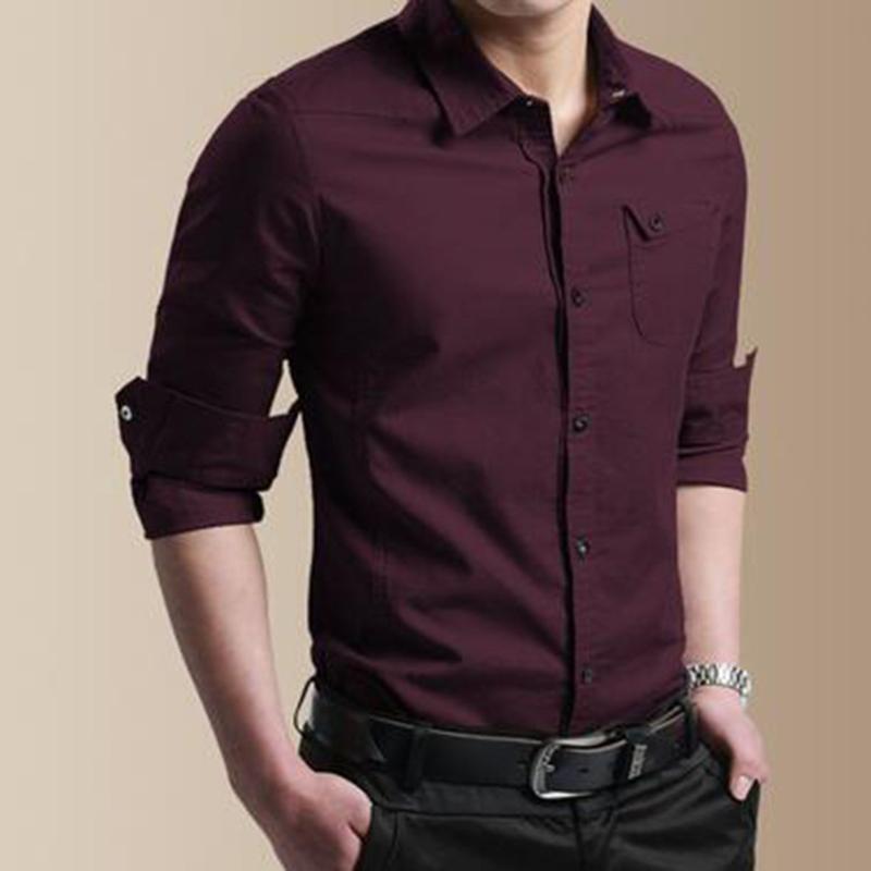 Para hombre otoño Camisetas Casual botón de carga vestido delgado de manga larga blusa de la tapa formal Oficina camisa masculina de alta calidad