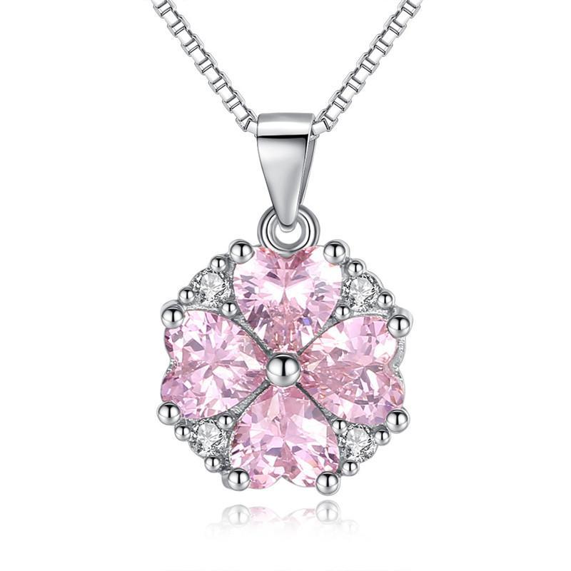 CZ Crystal de Swarovski Pink Cubic Zirconia Corazón Collares pendientes Para Las Mujeres Moda Bodas Novia Joyería Aniversario Regalo WE186