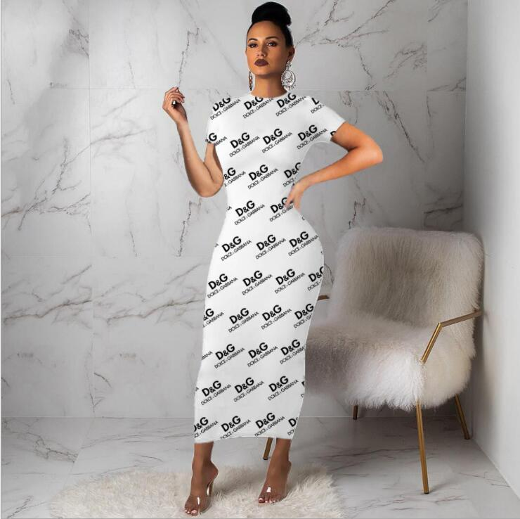 S-XXXL Frauen mit Rundhalsausschnitt Lange Ärmel Maxikleider sexy Farbe Brief beiläufige Kleider Lange Bodycon-Partei-Kleid Multi-Art-Druck