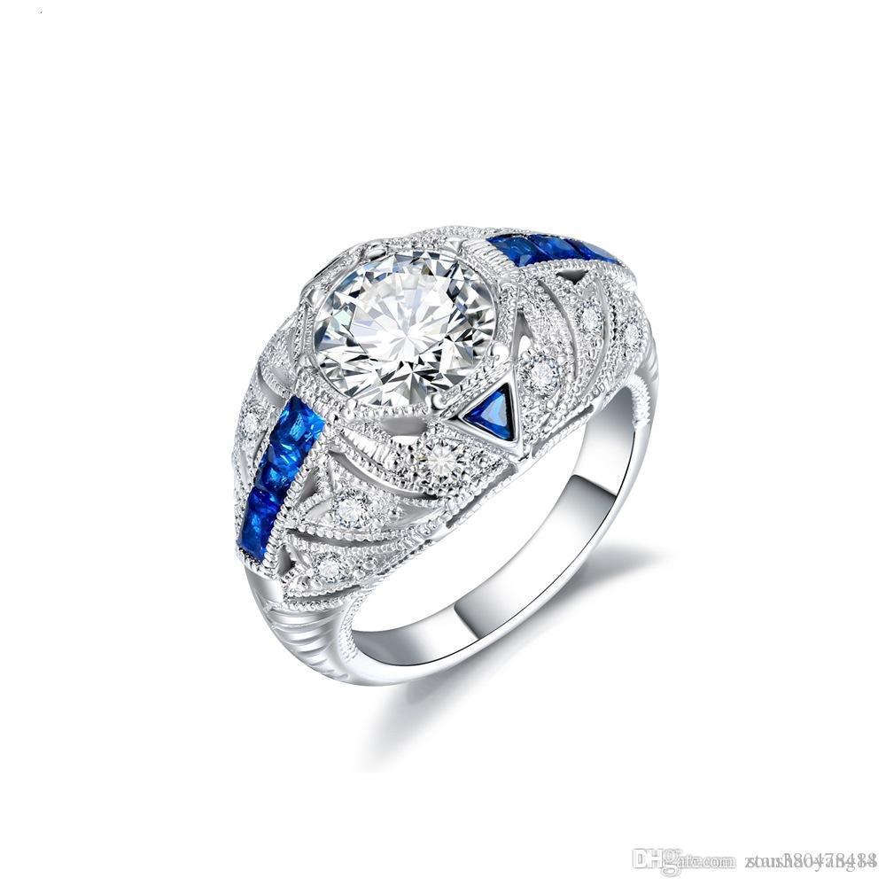 Einzigartiger Verlobungsring aus europäischem und amerikanischem Silberschmuck Damen Platin 925er Saphirring