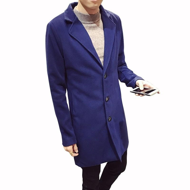 Casaco de Inverno Slim Fit Homens Long blusão Casaco masculino de lã 2019 Mens Fashion Business lã Coats Masculino Trench Coats 10 cores