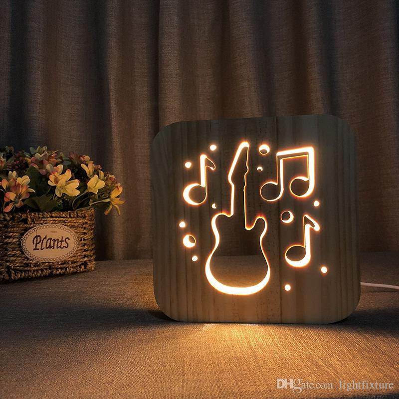 3D Ahşap Gitar Lambası Hollowed-Out LED Gece Lambası Sıcak Beyaz Masa Lambası USB Güç Kaynağı Arkadaşınızın Hediye Olarak