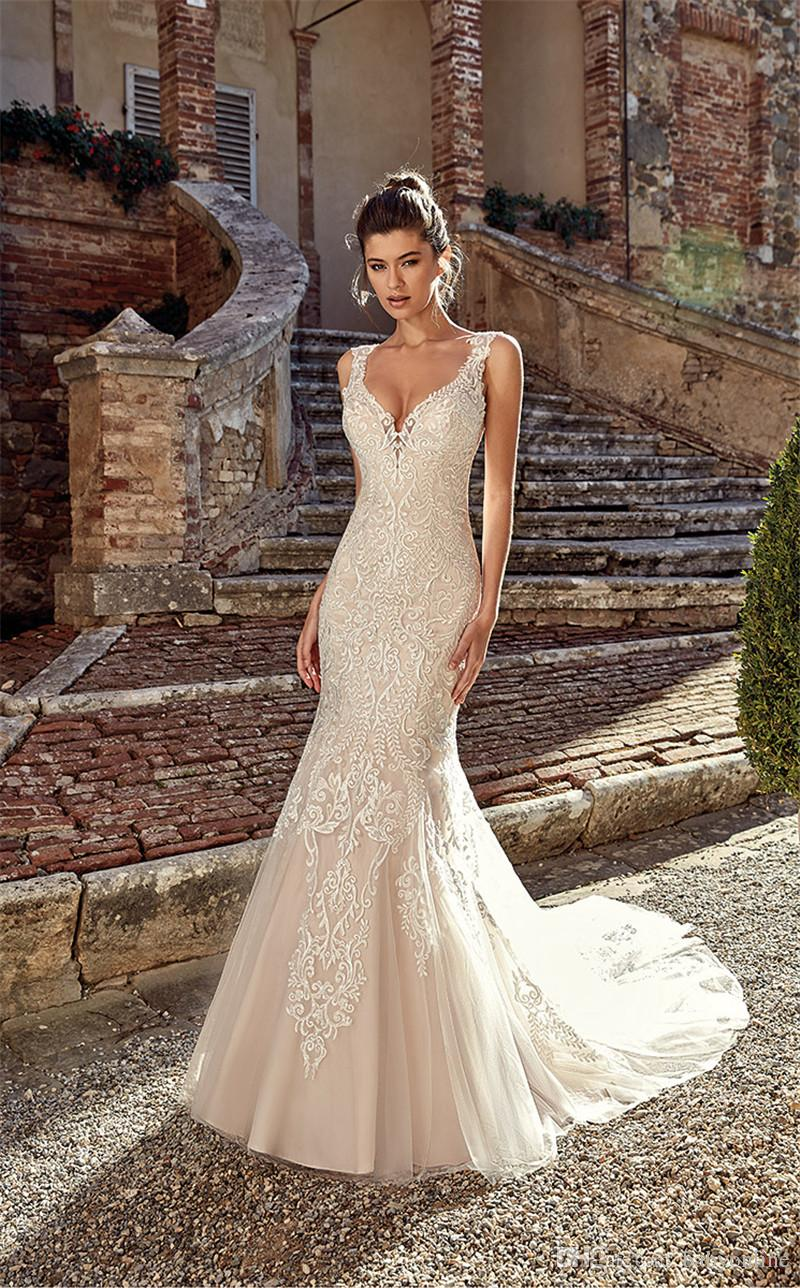 100% genuine good selling hot products 2019 New V Neck Mermaid Wedding Dresses Trumpet Appliques Tulle Long Bridal  Gowns Low Cut Backless Custom Made Bride Dress Beautiful Gowns Big Wedding  ...