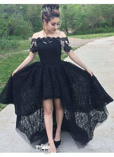 블랙 댄스 파티 드레스 2019 Hi-Lo Off 어깨 레이스 공식 드레스 Evening Wear 짧은 프론트 롱 백 로브 드 Soiree Special Occasion Dress