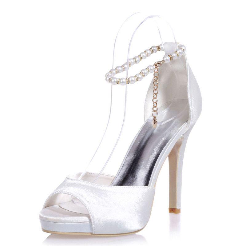 Nice Ivoire perles de mariage chaussures de mariage pour la mariée strass pointu orteil argenté talons aiguilles à talons cristal de mariée de mariée de demoiselle d'honneur robe chaussures T-St