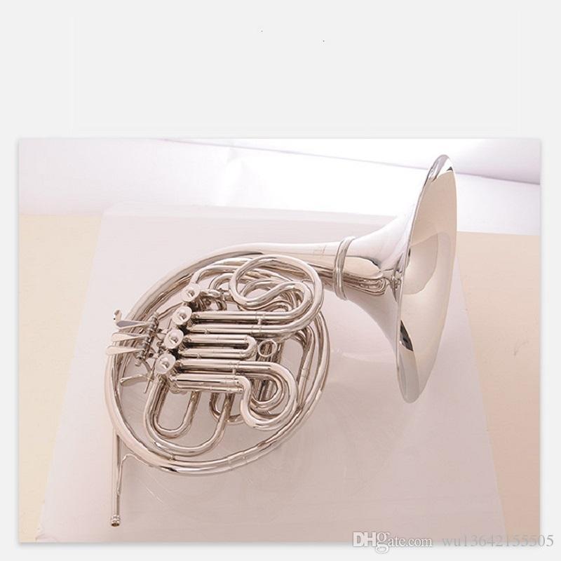 Yeni Geliş Bach Korno dört anahtar b / f sesi nikel Ağızlık Vaka Ücretsiz Kargo ile Müzikal enstrüman kaplama