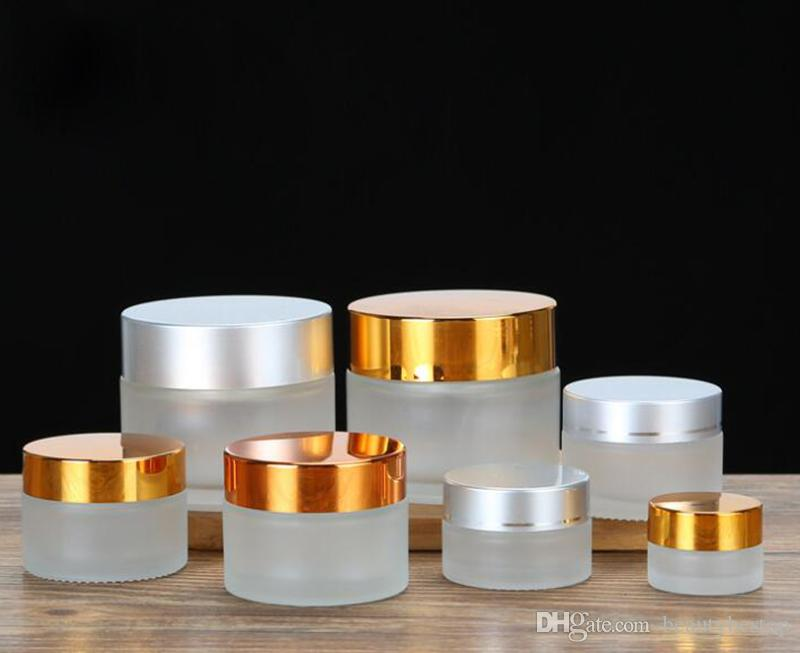 Glass Cream Jars 5g 10g 15g 20g 30g 50g 100g Frosted Clear Cosmetic Packaging Containers For Skin Care With Silver Black Gold Cap