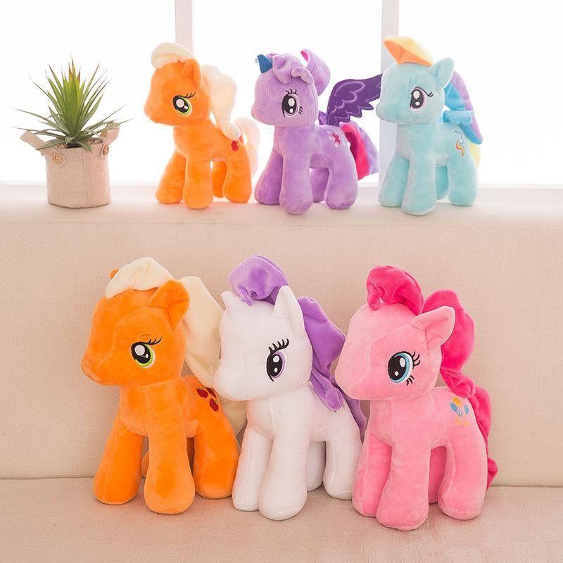 25 سنتيمتر الكرتون يونيكورن أفخم دمية للأطفال rainbow يذكر الخيول لينة محشوة الحيوان لعبة يونيكورن دمية حزب صالح 6 ألوان EEA489