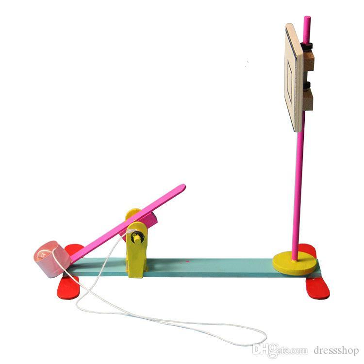 Bambini primaria scienza e della tecnologia su piccola scala di giocattoli in legno fatti a mano modello di esperimento scientifico di shootin basket
