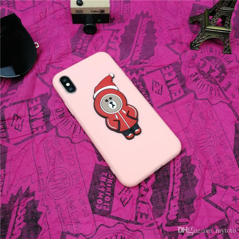 YunRT Yeni Yıl Çift Noel Hediyesi Karikatür Ayı Telefon Kılıfı Için Iphone X 10 8 7 6 6 s Artı 3d Mat Yumuşak Silikon Coque Fundas