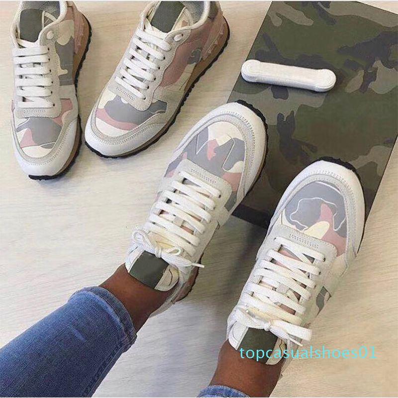 Lüks Tasarımcı Ayakkabı Rockrunner Kamuflaj Flats Tenis ayakkabıları eğitmenler Erkekler Kadınlar Sneakers Sports Kaykay Ayakkabı sneaker Nappa T01