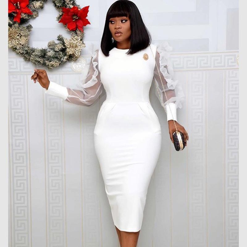 Офис Lady Wear Белое платье O шеи Прозрачная сетка с длинным рукавом рябить Женщины Элегантный Modest Классный Женский Новые моды весна лето Dreses