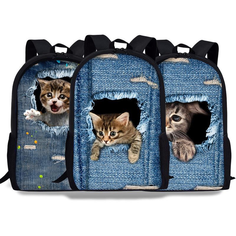 Curel Fancl Jeans Cute Women Men Casual Backpack Denim Cat Printing School Backpack for Teenage Boys Girls Student Bagpack Bag