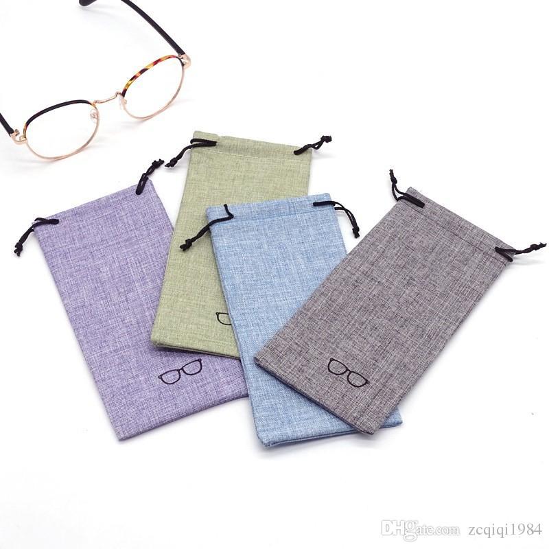 الكتان نظارات حقيبة لينة المحمولة نظارات حقيبة أزياء النظارات الشمسية حقيبة الغبار دائم جيب الهاتف حزمة