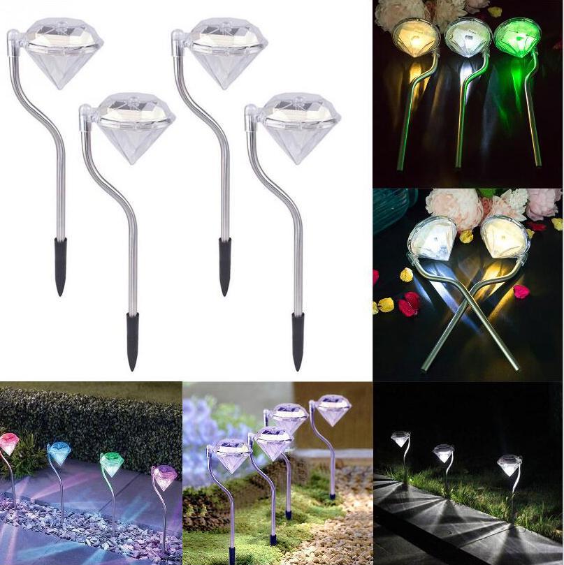 LED 태양 전원 램프 정원 경로 스테이크 초롱 램프 LED 다이아몬드 잔디 빛 통로 정원 장식 야외 거리 마당 라이트 D1059