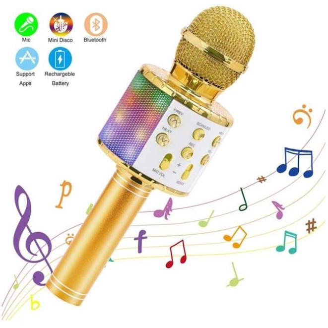 WS858 senza fili del microfono di karaoke di Bluetooth portatile altoparlante portatile della casa KTV del giocatore con la danza LED luci Funzione record