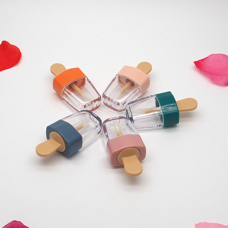 도매 DIY 메이크업 도구 립글로스 튜브 화장품 아이스크림 투명 립 밤 리필 병 용기 크림 항아리 100 개 DHL 비우기