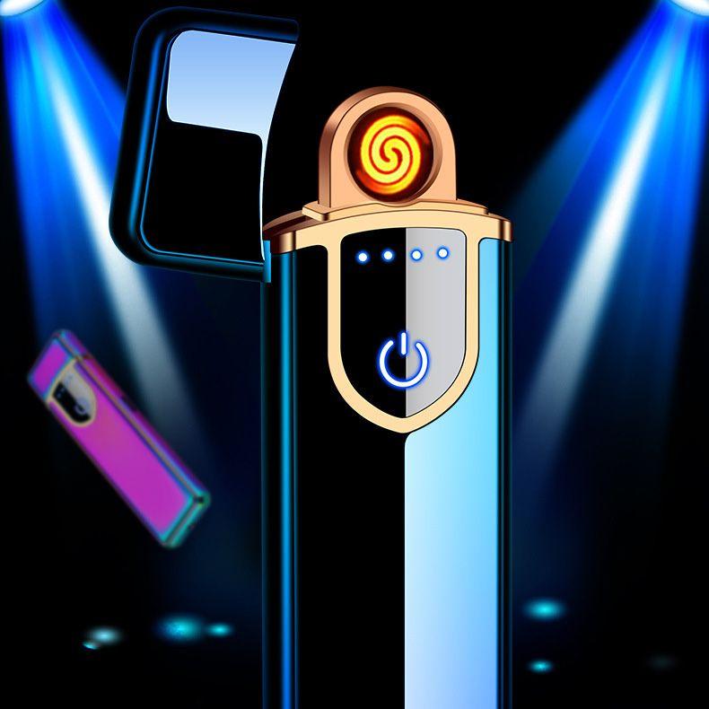 초박형 얇은 스트립 전기 USB 충전식 라이터 cigarett 터치 감지 제어 스위치 이중 코일 히터 방풍 금속 h71507