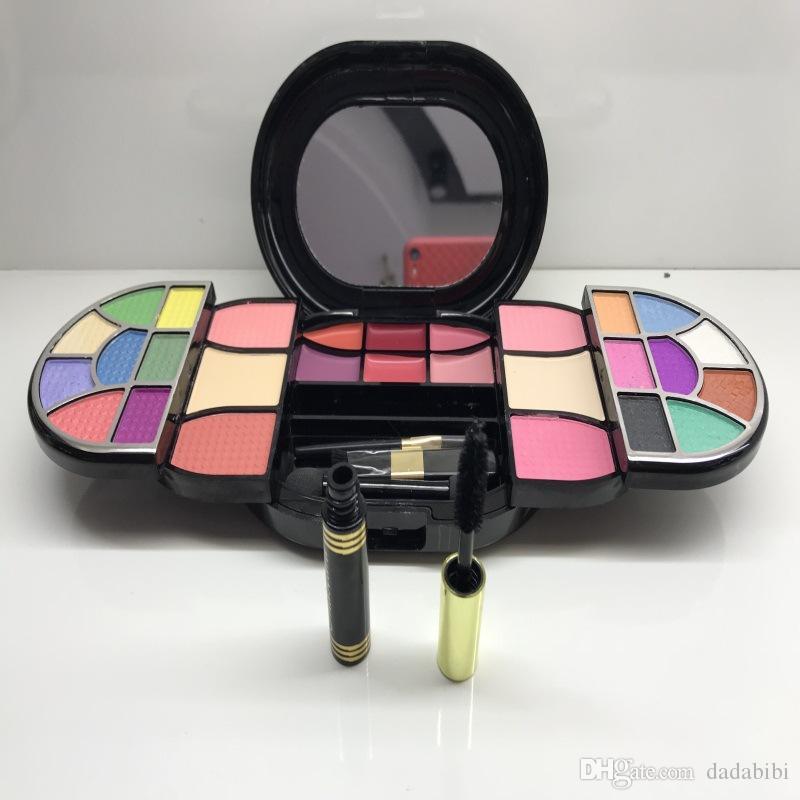 Three Layer Makeup Box Set Mascara Eye Shadow Blush Beauty Makeup Set For Free Shipping