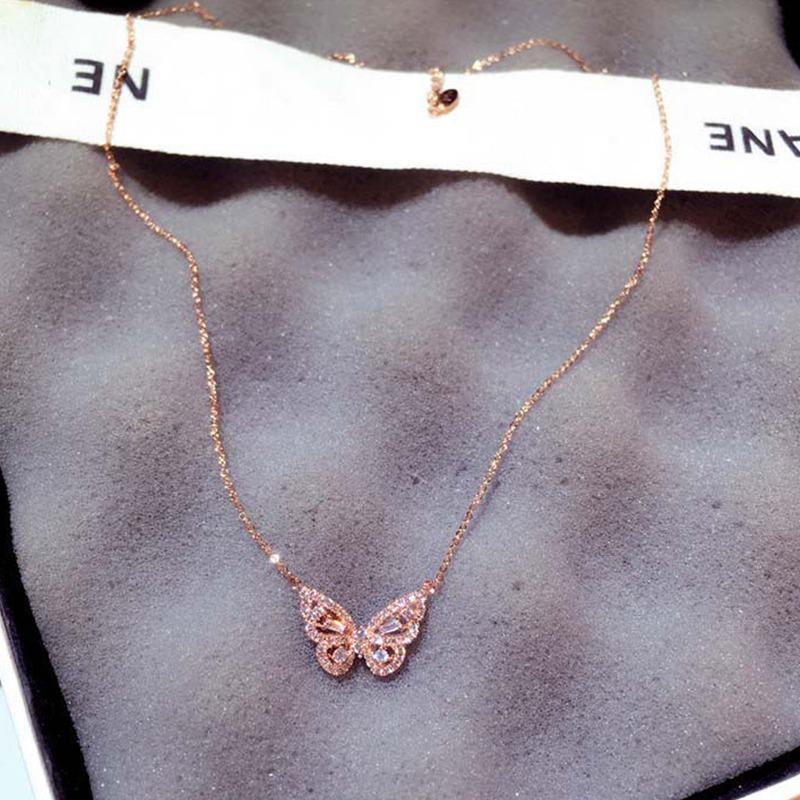 Geschenk Hochzeit CZ Halskette Schmetterling Anhänger Überzogen Zirkon Kristall Glänzend Schmuck Valentine Silber Wnqil