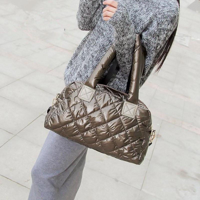New 2019 Winter Women Space Cotton Handbags Fashion Ladies Bag Down Fashion Bright Shoulder Bag Female Tote Bolsas Sac A Main Y190620