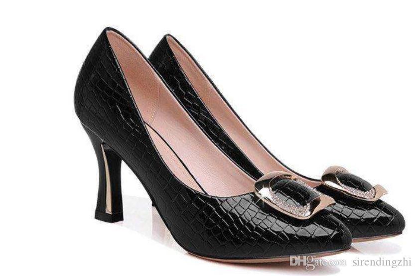 2020 zapatos de mujer en primavera y otoño con nuevo estilo alto talón grueso talón extremo puntiagudo @ 7113