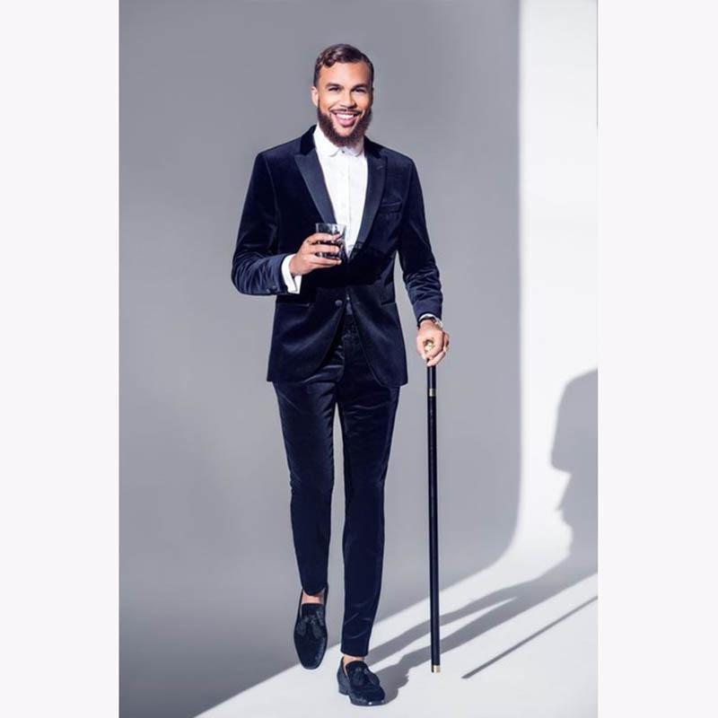 Son Pantolon Ceket Tasarım Lacivert Kadife Erkek Takım Elbise Resmi Slim Fit Smokin 2 Parça Blazer Özel erkek Parti Takımları Terno Masculino