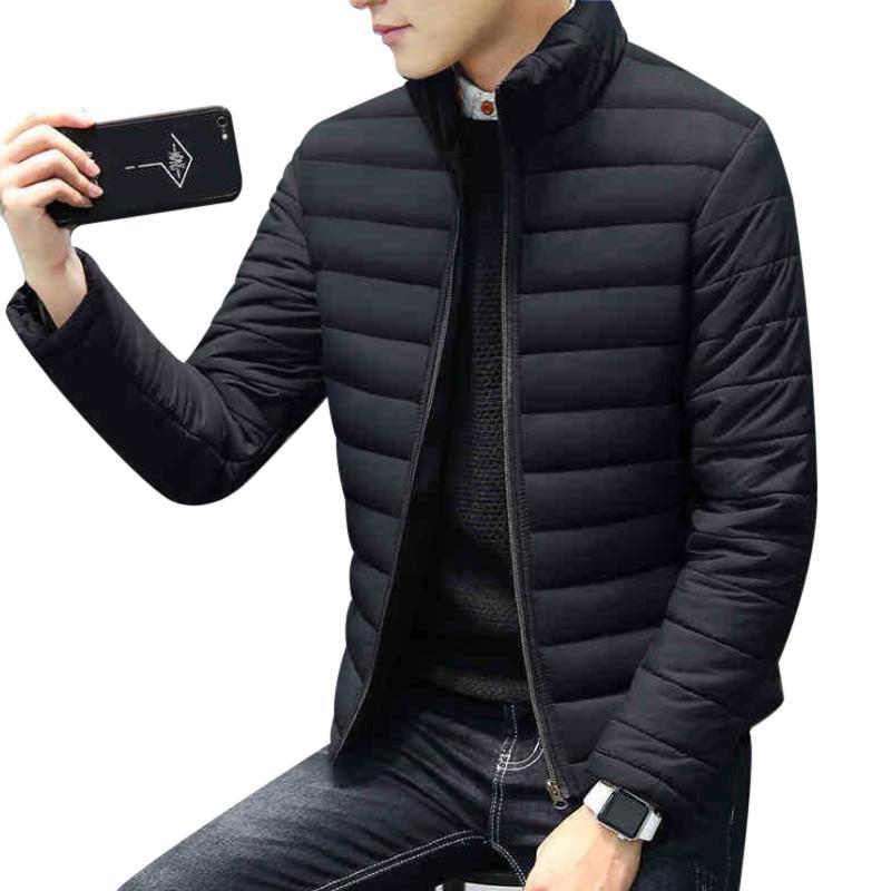 Invierno caliente grueso delgado corto chaquetas para los hombres del collar del soporte de manga larga masculino de la cremallera Outwear más el tamaño M-4XL Doudoune Homme