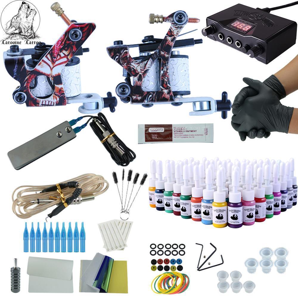 Kit de tatuagem completos 2 armas imortal cor tintas de alimentação máquinas de tatuagem máquinas de agulhas acessórios kits kit de maquiagem permanente