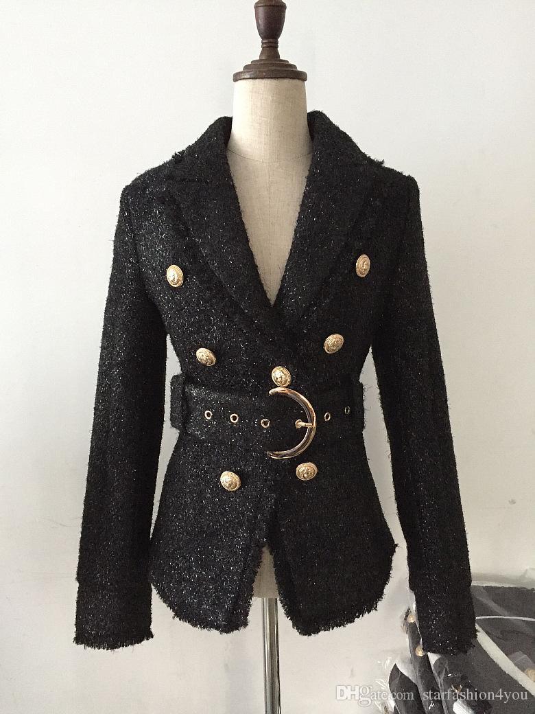 جديد مع العلامة التجارية ب أعلى جودة التصميم الأصلي المرأة السيدات مزدوجة الصدر سترة صوفية مشبك معدني حزام السترة أبلى