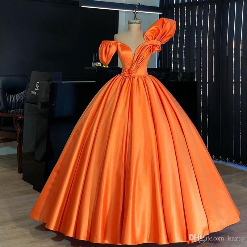 Plus Size orange robe de bal Quinceanera Robes Encolure Plis Tenue de soirée robe de soirée Robes de soirée Abendkleider robe de soirée