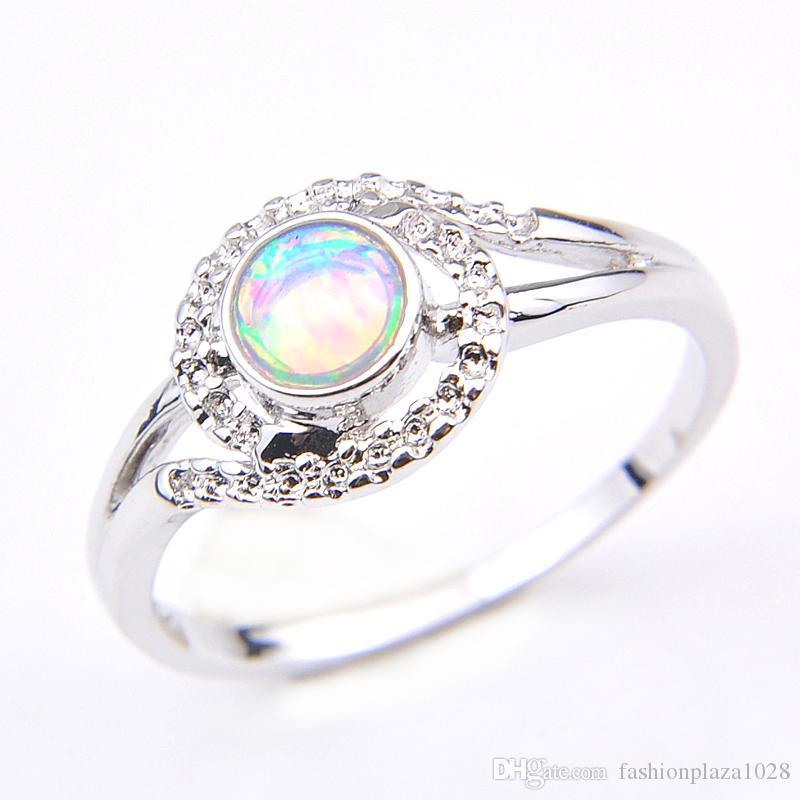 10pcs da mãe de presente da jóia 925 reais White Opal Rodada Anéis Mulheres Europa populares jóias anel de moda retro 7 8 9 #