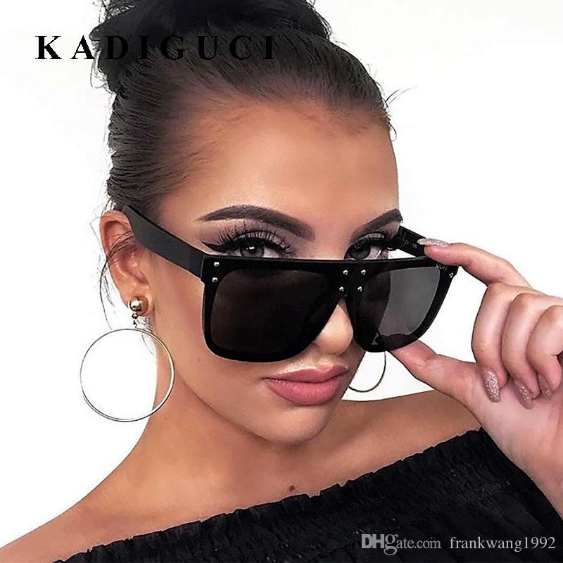 Kadiguci جديد شقة الأعلى نظارات الشمس المتضخم نظارات رجالي ساحة نظارات المرأة الأزياء الشهيرة برشام الأسود نظارات gafas دي سول k316