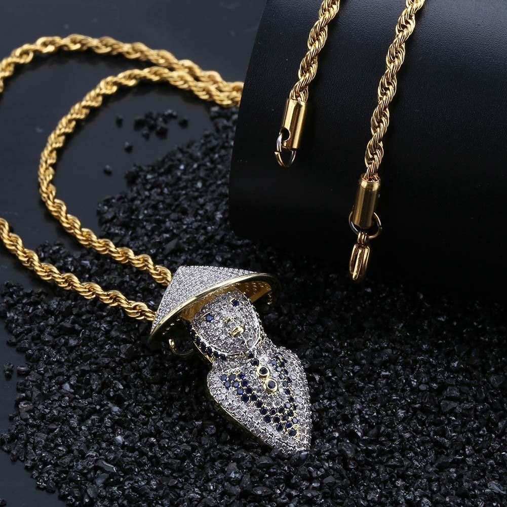 Hip oro ghiacciato fuori 18K ha placcato Bling CZ simulato collana di diamanti Bucket Weng Pendant Hop Rapper collana della catena per donne degli uomini