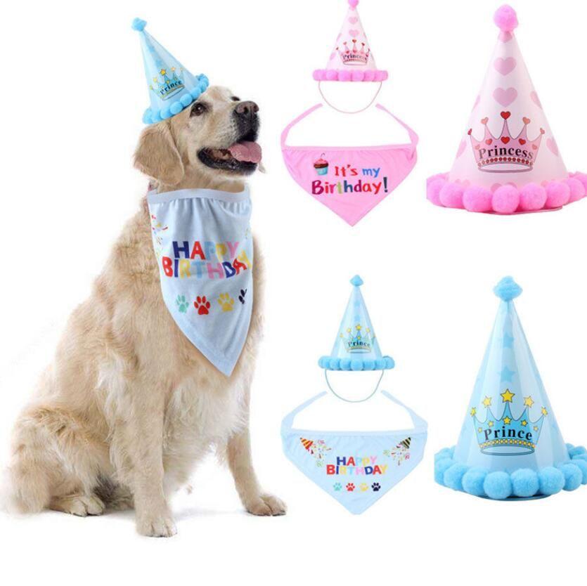 Sombrero del perro del gato del sombrero mascota baberos cumpleaños Headwear Caps gato accesorios del perro del traje del partido Headwear de accesorios para mascotas para perros pequeños cap Pañuelos