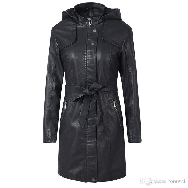 Fur Jacket Winter Women Long Coat Faux Leather Jackets Hoodies Thicken Warm Wind Breaker Waterproof Windproof Biker Motorcycle Tops